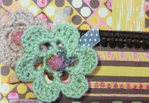 Organza Dotted cream ribbon and mini brown pom-pom trim can be seen here. Crocheted flowers also from Savvy n Sassy Store